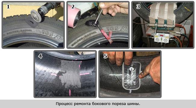 Ремонт бокового пореза шины, как его делают?